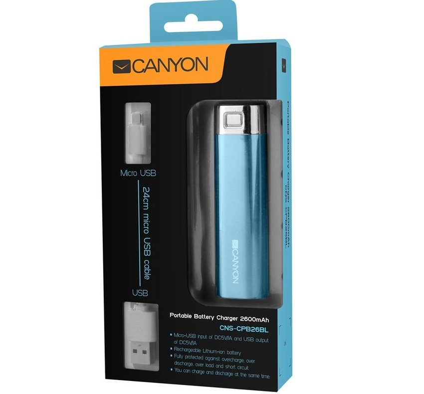 Test: Canyon USB battery charger 2600 mAh CNS-CPB26BL